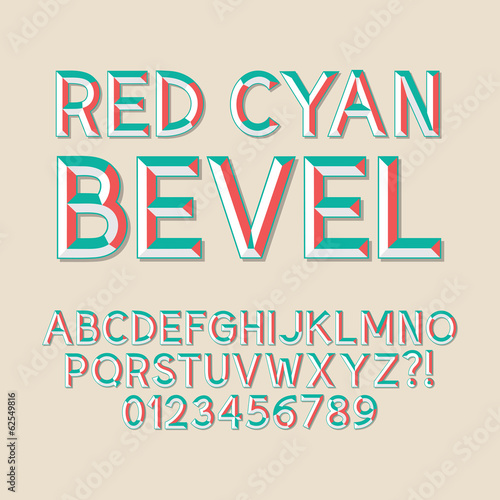 Red Cyan Bevel Alphabet and Numbers, Eps 10 Vector Editable Tablou Canvas