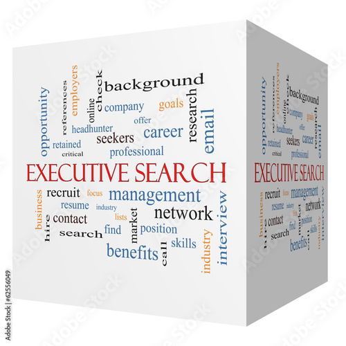 Photo  Executive Search 3D cube Word Cloud Concept