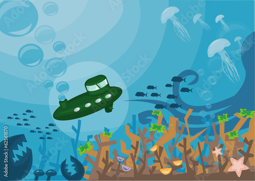 Foto op Canvas Olijf Submarine under the Sea