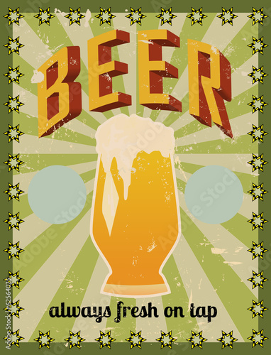 retro beer illustration, free space for your text or sign
