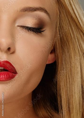Foto op Aluminium Kapsalon Beautiful young woman with seductive red lips