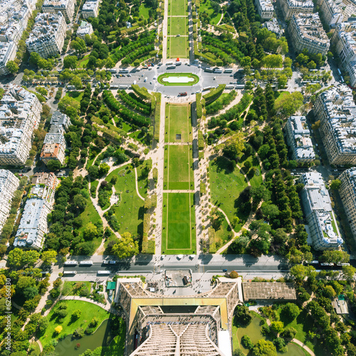 Photo  The Champ de Mars. View from the Eiffel Tower, Paris
