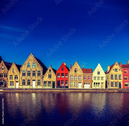 Poster Bridges European town. Bruges (Brugge), Belgium