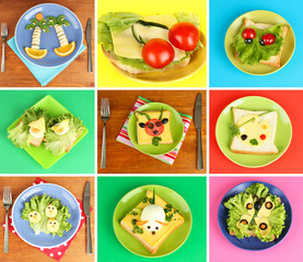 Fototapeta Do restauracji Collage of fun food for kids