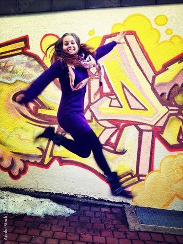 Fotografie, Obraz  happy woman jumping