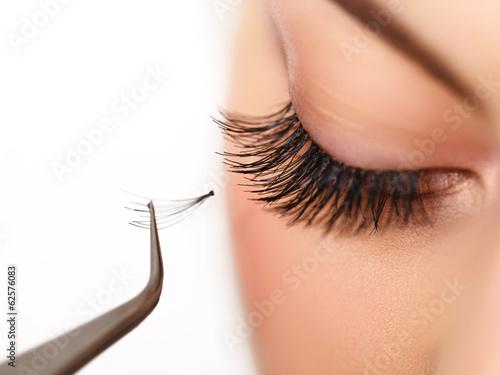 Poster  Woman eye with beautiful makeup and long eyelashes. Mascara