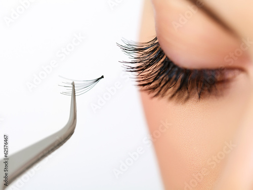 Woman eye with beautiful makeup and long eyelashes. Mascara Plakat