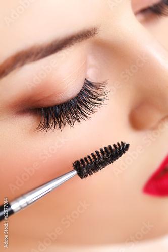 Valokuva  Woman eye with beautiful makeup and long eyelashes. Mascara