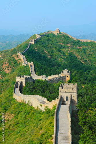 Photo  Great Wall of China in Summer with blue sky