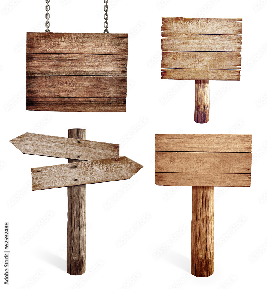 Fototapeta Old wooden road signs set isolated