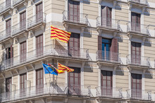Independentist Signs And Flags On Barcelona Streets.