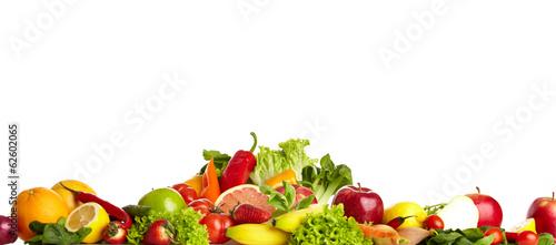 Poster Légumes frais Fruit and vegetable borders