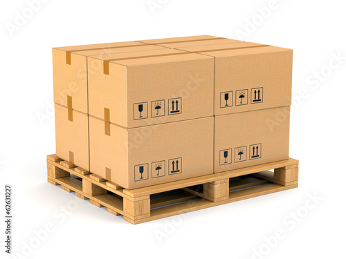Carta da parati Cardboard boxes on pallet