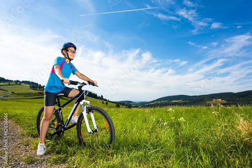 Keuken foto achterwand Ontspanning Healthy lifestyle - teenage girl biking