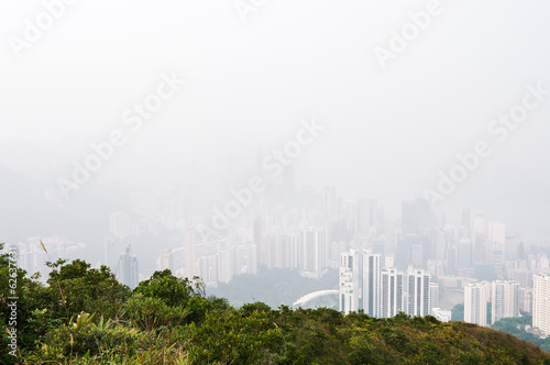 Hong Kong island obscured by haze Plakát