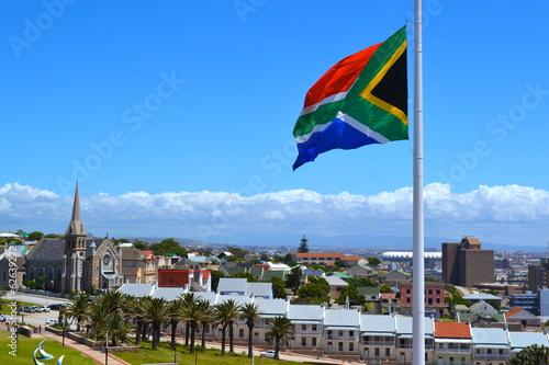 Fotobehang Zuid Afrika South African Flag, Donkin Street