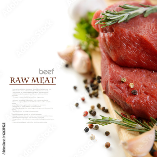 Staande foto Vlees raw meat and vegetables