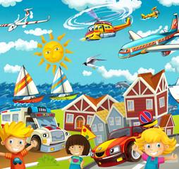 Cartoon street - illustration for the children