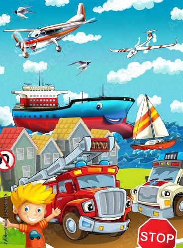 Poster Cars Cartoon street - illustration for the children