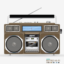 Vector Retro Stereo Radio Cass...