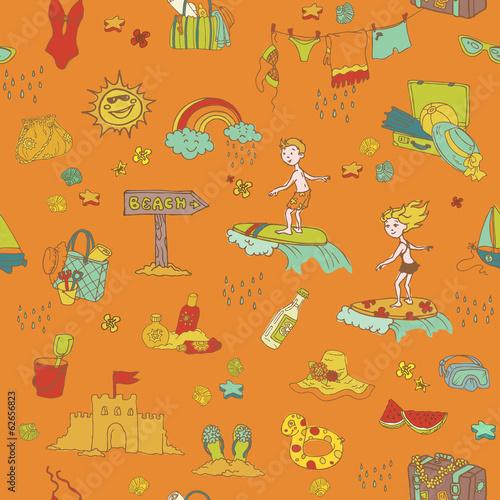 In de dag Kinderkamer Seamless Summer Holiday Background