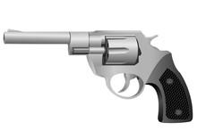 Realistic Revolver.Vector Illustration On White Background.