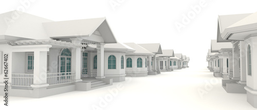 Foto auf AluDibond Gezeichnet Straßenkaffee 3D residential estate village design in white background