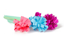 Three Colored Paper Flowers