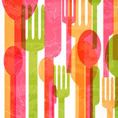 Obraz na Szkle Do baru Vector Illustration of an Abstract Cutlery Background