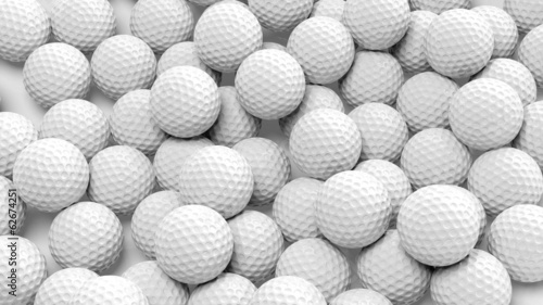Photo sur Toile Golf Many golf balls together closeup isolated on white