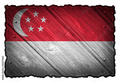 Photo  Singapore flag painted on wooden tag