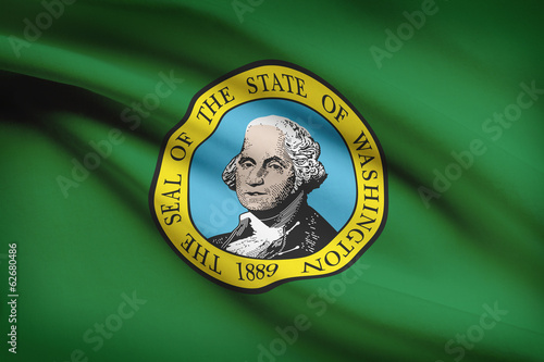 Fotografía  Series of ruffled flags of US states. State of Washington.