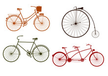 Silhouette Of Retro Bicycle On A White Background.