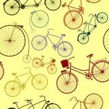 Bezszwowy wzór z sylwetkami retro rower. - 62686008
