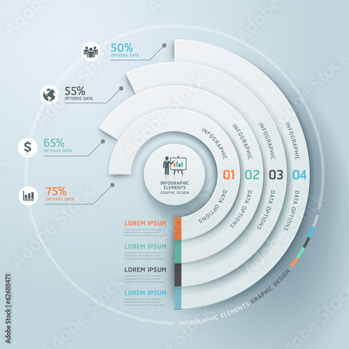 Fotografie, Tablou  Business Infographics circle origami style Vector illustration.