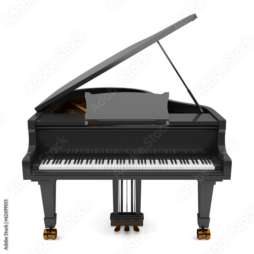Leinwand Poster black grand piano isolated on white background