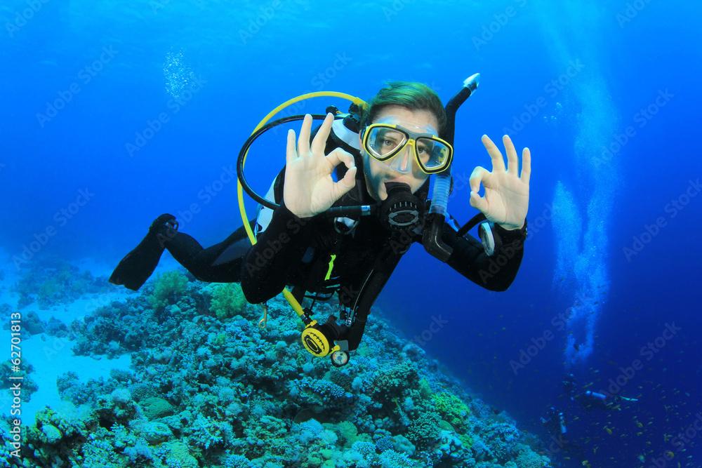 Fototapeta Female Scuba Diver