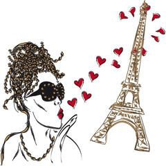 Girl in black glasses sends an air kiss