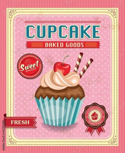 In de dag Kinderkamer Cupcake poster design in retro style