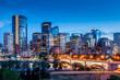 Leinwanddruck Bild - Calgary skyline at night