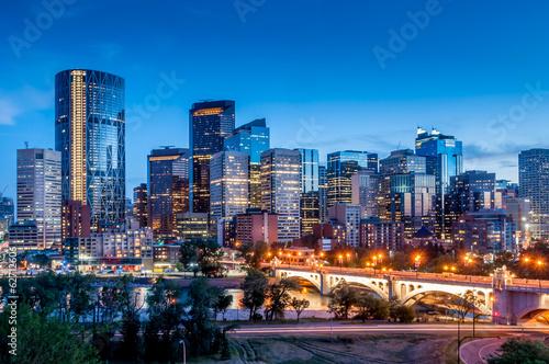 Spoed Foto op Canvas Canada Calgary skyline at night