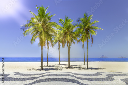 Sun shining on Copacabana Beach sidewalk in Rio de Janeiro Poster