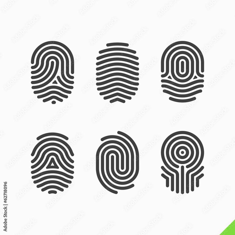 Fototapety, obrazy: Fingerprint icons set