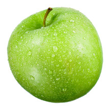 Green Apple With Drops Isolate...
