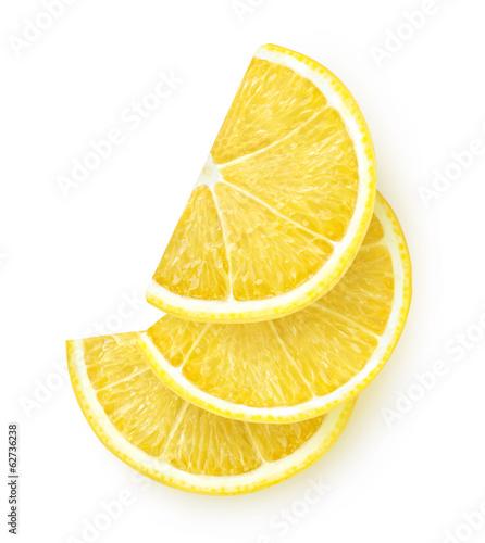 Fotografia Isolated lemon. Lemon slices isolated on white background