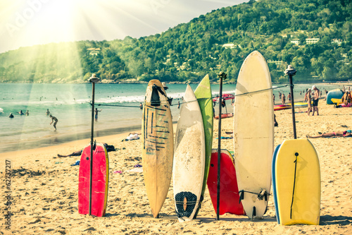Fotografie, Obraz  Surfboards at the beach - Nostalgic retro version
