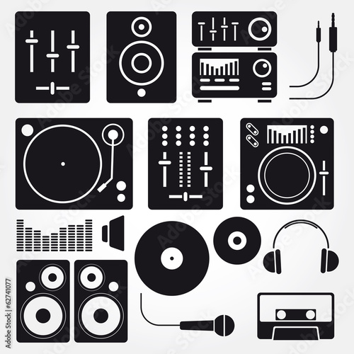 Photo  Vector set of various stylized dj icons