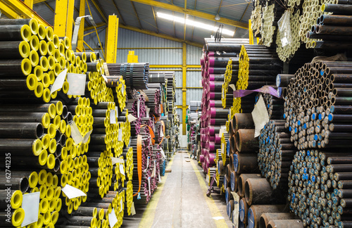 Fotografia Steel pipes storage in warehouse