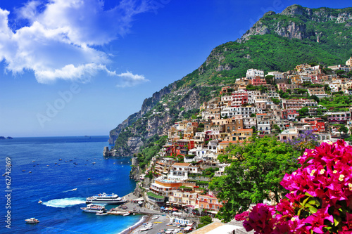 beautiful scenery of amalfi coast of Italy, Positano. Canvas Print