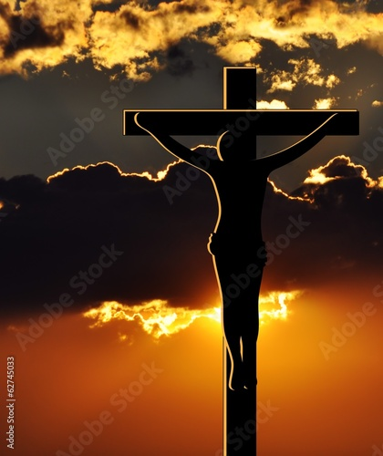 Crucifixion of Jesus Christ at Sunset - 62745033